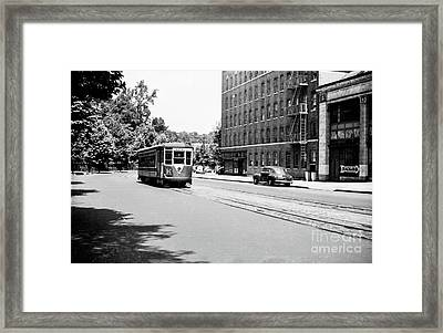 Framed Print featuring the photograph Trolley With Packard Building  by Cole Thompson