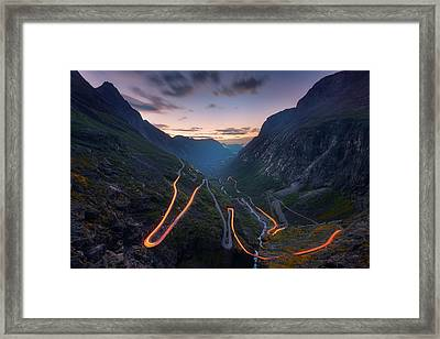 Trolls' Path Framed Print by Tor-Ivar Naess