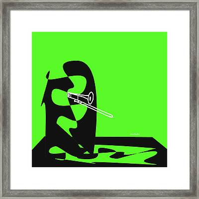 Trombone In Green Framed Print by David Bridburg