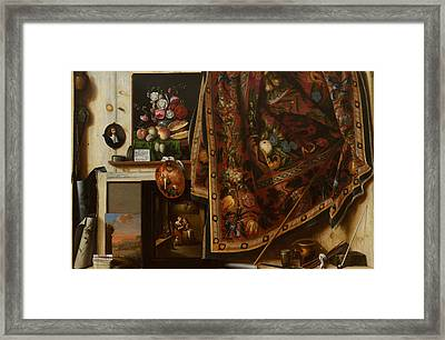 Trompe L'oeil. A Cabinet In The Artist's Studio Framed Print by Cornelis Norbertus Gysbrechts