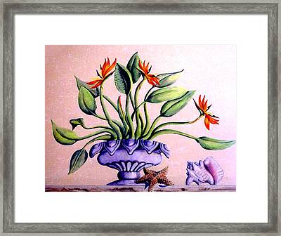 Framed Print featuring the painting Trompe L'oeil  Birds Of Paradise by Thomas Lupari