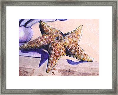 Framed Print featuring the painting Trompe L'oeil Star Fish by Thomas Lupari