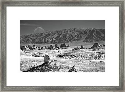 Trona Pinnacles With The Moon Framed Print