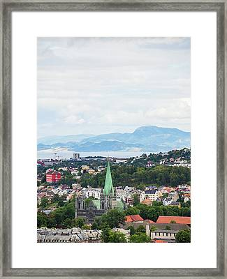 Framed Print featuring the photograph Trondheim, Norway Cityscape by Whitney Leigh Carlson