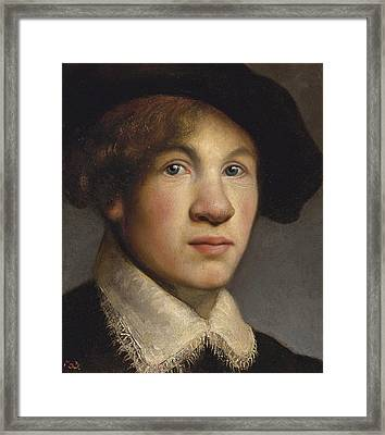 Tronie Of A Young Man Possibly A Portrait Of The Young Rembrandt Framed Print by Isaac de Jouderville