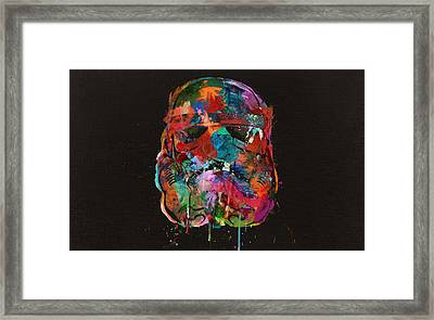 Trooper In A Storm Of Color Framed Print by Mitch Boyce
