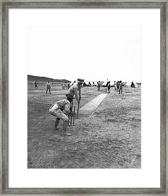Troops Playing Cricket Framed Print by Underwood Archives