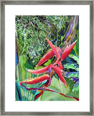 Tropcial Red Flora Framed Print by Mindy Newman