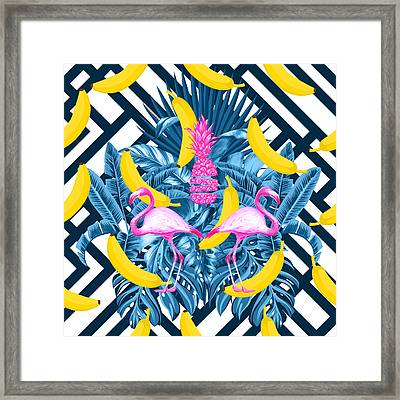 Tropical Banana Pink   Framed Print