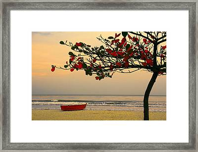 Framed Print featuring the photograph Tropical Beach Sunset by Kim Wilson