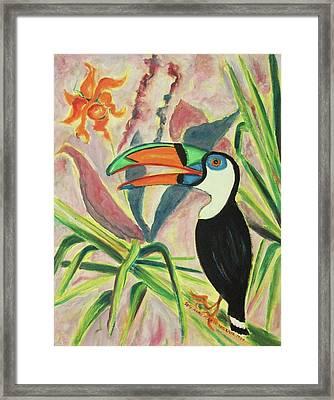 Tropical Bird And Plants Framed Print
