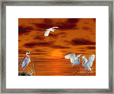 Framed Print featuring the digital art Tropical Birds And Sunset by Terri Mills