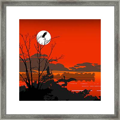 Tropical Birds Orange Sunset Abstract - Square Format Framed Print