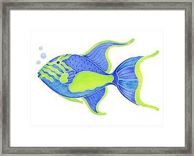 Tropical Blue Triggerfish Framed Print by Laura Nikiel