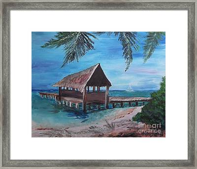 Tropical Boathouse Framed Print
