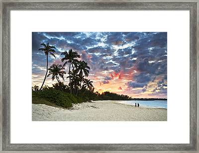 Tropical Caribbean White Sand Beach Paradise At Sunset Framed Print by Dave Allen