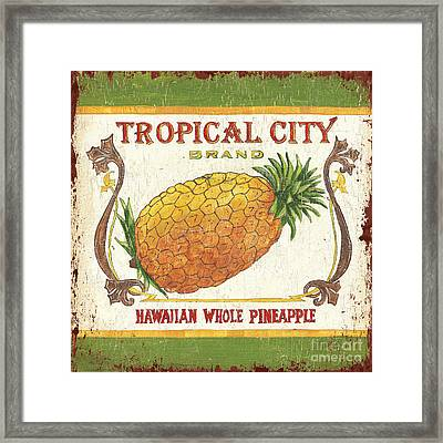 Tropical City Pineapple Framed Print by Debbie DeWitt