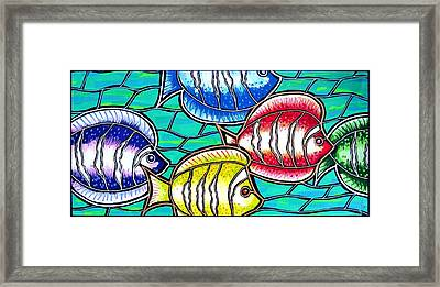 Framed Print featuring the painting Tropical Fish Swim by Jim Harris