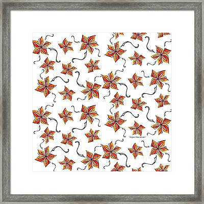 Tropical Floral Colorful Orange Star Pattern Fun And Unique By Megan Duncanson Framed Print by Megan Duncanson