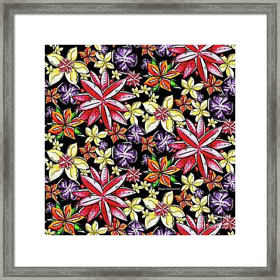 Tropical Floral Colorful Pattern Fun And Unique By Megan Duncanson Framed Print by Megan Duncanson