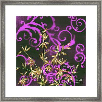 Tropical Floral Leaves Fine Art Painting In Magenta And Black By Megan Duncanson Framed Print