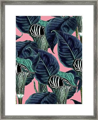 Tropical Flower Pattern Framed Print