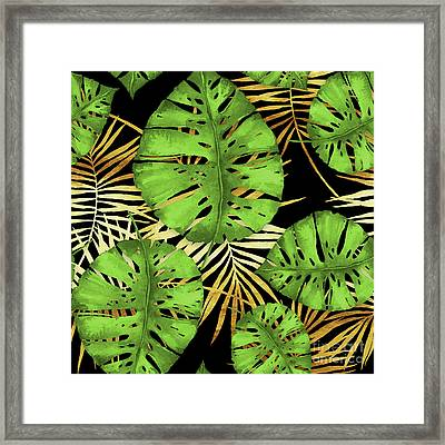 Tropical Haze Noir Green Monstera Leaves, Golden Palm Fronds On Black Framed Print