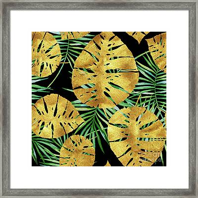 Tropical Haze Noir II Gold Monstera Leaves, Green Palm Fronds Framed Print