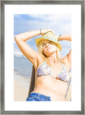 Tropical Island Beach Babe Framed Print