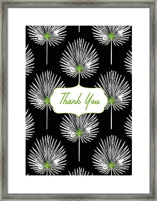 Tropical Leaf Thank You Black- Art By Linda Woods Framed Print by Linda Woods