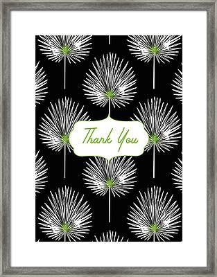 Tropical Leaf Thank You Black- Art By Linda Woods Framed Print
