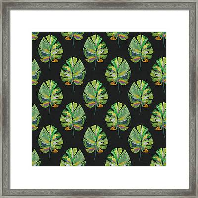 Framed Print featuring the mixed media Tropical Leaves On Black- Art By Linda Woods by Linda Woods