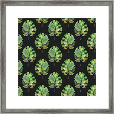Tropical Leaves On Black- Art By Linda Woods Framed Print by Linda Woods