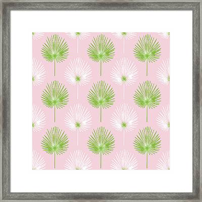 Tropical Leaves On Pink 2- Art By Linda Woods Framed Print