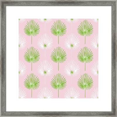 Tropical Leaves On Pink 2- Art By Linda Woods Framed Print
