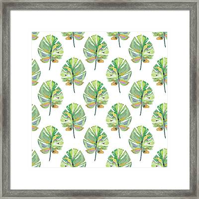 Framed Print featuring the mixed media Tropical Leaves On White- Art By Linda Woods by Linda Woods