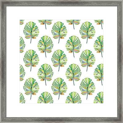 Tropical Leaves On White- Art By Linda Woods Framed Print by Linda Woods