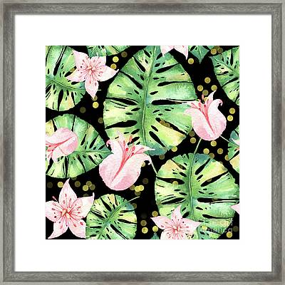 Tropical Monstera And Pink Tulip Pattern Framed Print