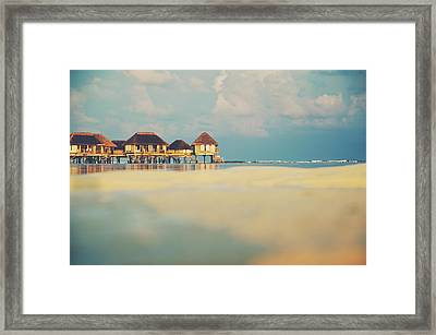 Tropical Overwater Bungalow Resort Maldives Framed Print