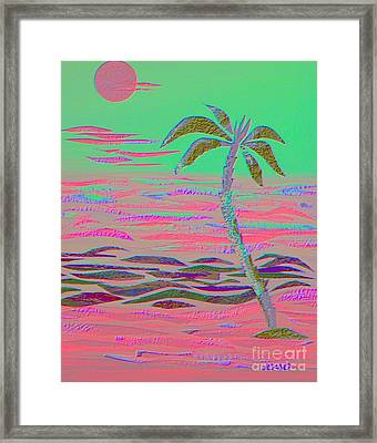 Hot Pink Coconut Palm Framed Print