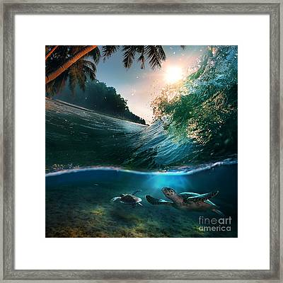 Tropical Paradise Template With Sunlight. Ocean Surfing Wave Breaking And Two Big Green Turtles Divi Framed Print by Caio Caldas