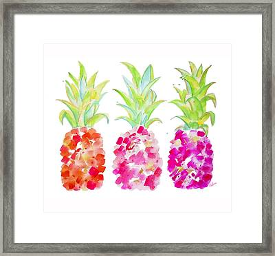 Tropical Pink And Gold Framed Print by Roleen Senic