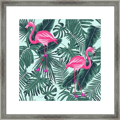 Tropical Pink Flamingo Framed Print by Mark Ashkenazi