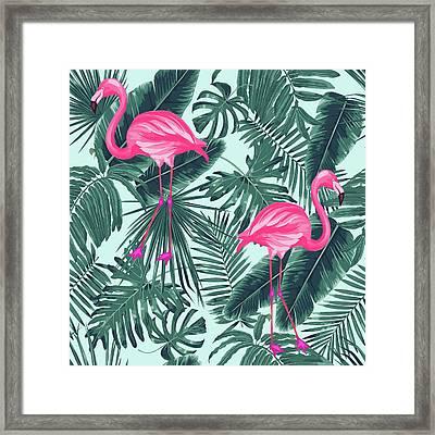 Tropical Pink Flamingo Framed Print