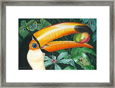 Tropical Rain Forest Toucan Framed Print by Richard De Wolfe
