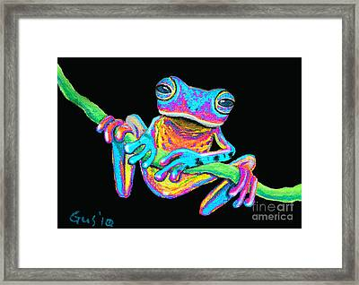 Tropical Rainbow Frog On A Vine Framed Print by Nick Gustafson