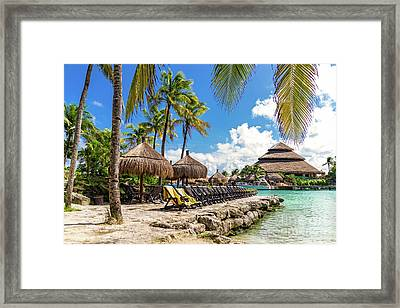 Tropical Seascape View. Ocean, Sun Beds And Palms  In Mexico Framed Print