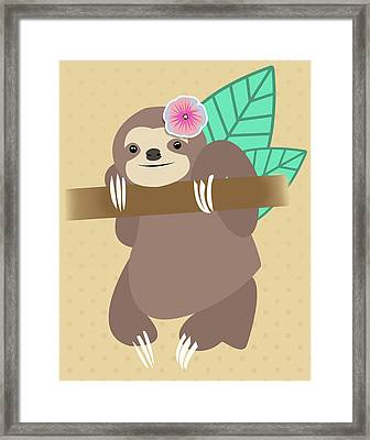 Tropical Sloth Illustration Framed Print by Pati Photography
