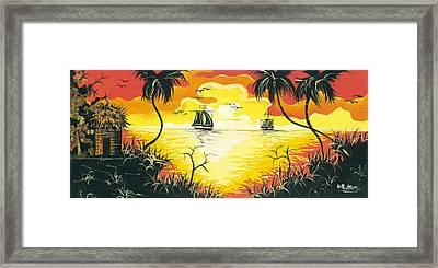 Tropical Sunset Framed Print by Herold Alvares