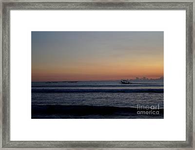 Tropical Sunset On Beach Of Indian Ocean Framed Print